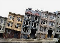 Russian Hill, San Fransisco i'd bend to the side walkind on this street .Ha!  lmbo how cool,Talk about the leaning tower of Pisa?