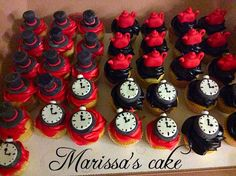 Alice in wonderland quinceañera cupcakes. Visit us Facebook.com/marissascake.com or www.marissa'scake.com