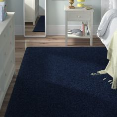 Viv + Rae Anika Midnight Navy Blue Area Rug Rug Size: Rectangle x Purple Area Rugs, Navy Blue Area Rug, World Map Wall Decal, High Pile Rug, Navy Rug, White Rug, Art Wall Kids, Bleu Marine, Midnight Blue