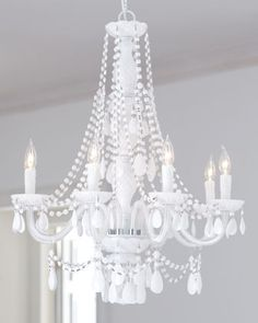 This chandelier makes me swoon. I am crazy for vintage milk glass and this thing is dripping in its younger cousin. White Chandelier, Chandelier Pendant Lights, Modern Chandelier, Modern Lighting, Chandeliers, All White Room, Beautiful Dining Rooms, Makeup Rooms, Crystals