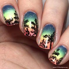 25 Sweetpeas: Florida Sunset Nail Art
