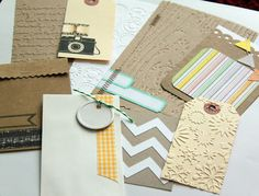 from the March WIP kit - good ideas for handmade embellishments with punches, stamps, diecuts and embossing folders