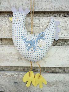 Hanging Chicken Hen, Tilda Stars Fabric+Lavender Shabby Chic Kitchen Decoration | eBay