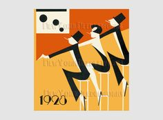 Art Deco At the Bar, Cross Stitch, Art Deco Poster, Cross Stitch Pattern, Needlepoint, Silhouettes from NewYorkNeedleworks on Ets