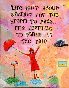 Mixed Media Giclee Print Girl Dancing in Rain Illustration ~ artbytrudy