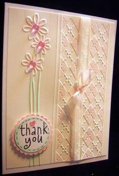 beautiful... #stampin up card #thank you card #argyle embossing folder
