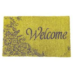 Welcome family and friends to your home with this lovely doormat, the perfect ornament for your doorstep or entryway.  Product: DoormatConstruction Material: CoirColor: GreenFeatures:  Made in IndiaHand-stenciled with permanent fade-resistant dyes Dimensions: 14  x 23