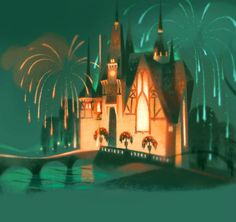 I love this Fairytale Castle art from Annette Marnat. The lighting is beautiful and I love the bridge and fireworks.