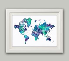 Items similar to World Map Print Blue Watercolor World Map Wall Art Travel Map World Map Print Living Room Wall Art World Art Home Decor Travel Art Blue Map on Etsy World Map Wall Art, Art World, Wall Stickers Dots, Wall Decals, Picture Wall, Photo Wall, Water Color World Map, Photo Tree, Living Room Art