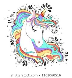 Cute White Unicorn with rainbow hair vector illustration for children design. Sweet fantasy character for t-shirts and cards Unicorn Painting, Rainbow Painting, Unicorn Art, Unicorn Drawing, Unicorn Images, Unicorn Pictures, Cute Drawings, Drawing Sketches, Unicorn Wallpaper Cute