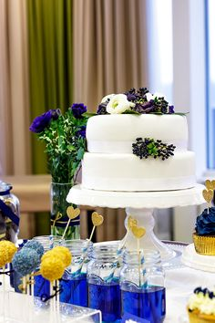 Wedding Cake Blue Candy Bar Inspiration