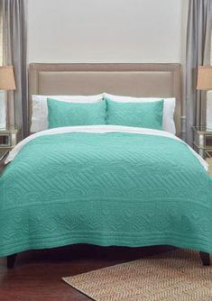 Rizzy Home Moroccan Fling Quilt - Aqua - Twin Bedroom Essentials, Moroccan Bedroom, Affordable Bedding Sets, Bed, Home, Coverlet Set, Rizzy Home, Holly Willoughby Bedding, Comfortable Pillows