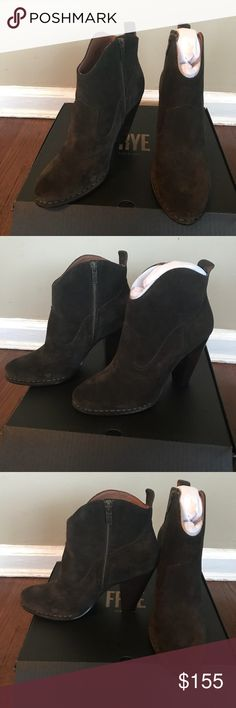 Frye short boots Great suede boots . Brand new in a box. The color is fatigue. Frye Shoes Ankle Boots & Booties