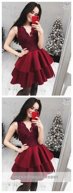 V Neck Burgundy Lace Cheap Short Homecoming Dresses Online, CM616 #homecomingdresses