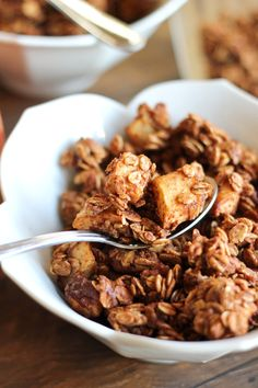 Yes. This right here. Cinnamon Apple Pie Granola. Raise your hand if you love granola. Raise your hand if you love apple pie. If both of your hands are up, then you will be loving this granola like it'syour best bud. It will make your house smell amazinggggggg. This recipe is actually a combo of 2 of my recipes. First,