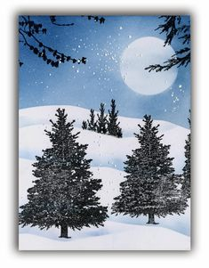 Moonlit forest winter scene card by sallie hobbydujour cards i inspiration avec les tampes magenta how to use magenta rubberstamps snow sceneswinter scenesxmas cardsgreeting cardswinter m4hsunfo
