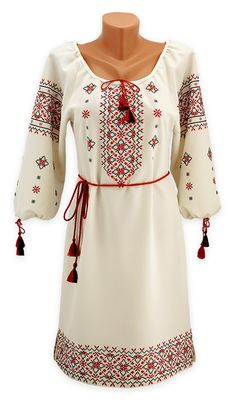 Embroided dress with filigreed ornament in traditional colours (Ukrainian) Mexican Fashion, Ethnic Fashion, Boho Fashion, Fashion Outfits, Womens Fashion, Carl Friedrich, Beautiful Outfits, Cute Outfits, Ukrainian Dress