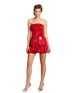My Michelle Juniors Strapless Dress  Color: Red      polyester   Hand Wash   pin detail at waist   rousched body   Made in China