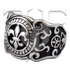 Mens French Fleur de Lis New Orleans Ring Stainless Steel Band
