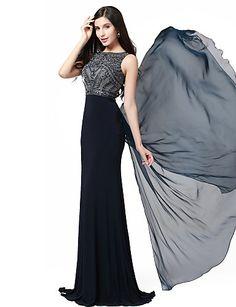 Formeller Abend Kleid - Dunkelmarine Chiffon/Elasthan/Strickware - Meerjungfrau-Linie / Mermaid-Stil - bodenlang - Juwel-Ausschnitt – USD $ 149.99