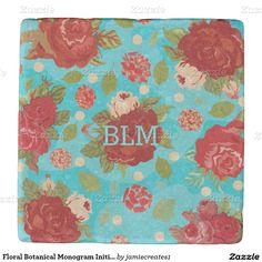 Floral Botanical Monogram Initials Stone Coaster