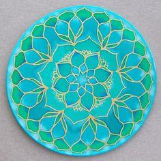 Mandala sur soie 20cm Ø peinture sur soie fleur par ShantiCreation                                                                                                                                                                                 Plus