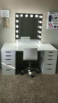 Make-up room inspiration! I love this vanity in my makeup room! Ikea Alex drawers make-up room inspiration! I love this vanity in my makeup room! Ikea Alex drawers Source b Cute Room Decor, Teen Room Decor, Room Ideas Bedroom, Bedroom Decor, Ikea Room Ideas, Bedroom Ideas For Small Rooms Diy, Baby Girl Room Decor, Bedroom Table, Kids Bedroom Sets
