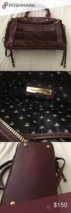 Rebecca Minkoff suede large MAB Beautiful dark brown MAB suede bag with gold hardware. From back when Rebecca Minkoff was made in NYC! Discontinued Fleur de Lis black and white inside. Does not include long shoulder strap or dust bag. Has scratches and a small stain on front area of bag and wear on hardware. Great for everyday use! Rebecca Minkoff Bags