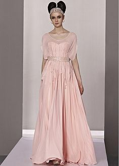 In Stock Stylish A-line Round Neck Natural Waist Long Pleated Formal Dresses With Short Sleeves
