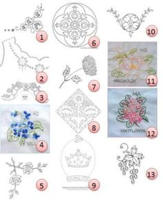 (1) Corner motifs (9 designs) from Broderie d'Antan (2) Vintage designs from Bramcoast Publications (3) Vintage bonnet girl from doe-c-doe (4) Rhode Island–Violet from turkey feathers (…