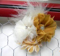 New to LaBellaRoseBoutique on Etsy: mustard Feather Flower Clip Mustard Chiffon Flower Rhinestone Chevron Flower ivory tulle Flower feather hair clip wedding flower girl teen (13.00 USD)
