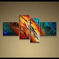 Large Modern Abstract Painting Oil Painting On Canvas For Living Room Abstract. This 4 panels canvas wall art is hand painted by A.Qiang, instock - $155. To see more, visit OilPaintingShops.com
