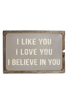 PONCHO & GOLDSTEIN 'Like, Love Believe' Sign available at #Nordstrom