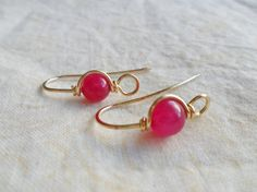 Pink Jade Earwires Choose Copper Brass or Oxidized Copper 1 pair on Etsy, $2.69