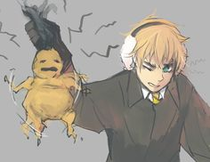 And then he fainted and fell into one poor handsome exchange students arms Mel and I where talking about cute hufflepuff arthur on skype ^q^...