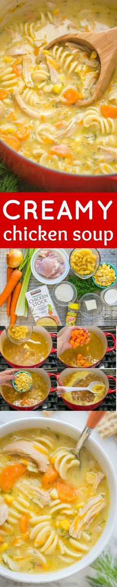 Creamy chicken noodle soup is loaded with shredded chicken, noodles, and veggies. Creamy chicken soup tastes like a chicken pot pie. Easy and loved by all! | natashaskitchen.com Chock Full, Paleo Diet, Spices, Clean Eating, Bread, Life, Food, Diet Recipes, Clean Meals