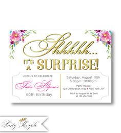 118 best surprise birthday party invitations images on pinterest in surprise birthday invitations for women 50th birthday surprise party invites 40th 50th 60th birthday 50th surprise birthday invitation filmwisefo