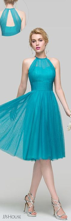 A-Line/Princess Scoop Neck Knee-Length Tulle Prom Dress With Ruffle,Custom Made Evening Dress · SexyPromDress · Online Store Powered by Storenvy Homecoming Dresses Knee Length, A Line Prom Dresses, Knee Length Dresses, Short Dresses, Party Gowns, Party Dress, Party Wear Dresses, Pretty Dresses, Beautiful Dresses