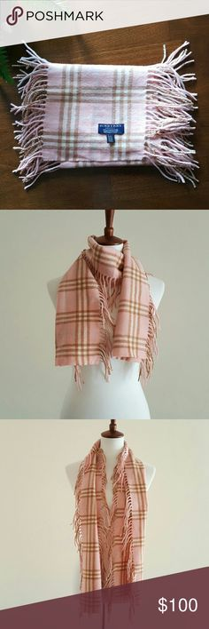 Pink Burberry Plaid Scarf 100% Cashmere Light pink, tan, and white plaid Burberry scarf. Fringe on both sides. Authentic. 60' long 8.5' wide.  100% Cashmere Burberry Accessories Scarves & Wraps