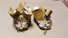"PAIR NATIVE AMERICAN PLAINS INDIANS BEADED HIDE MOCCASINS, SOLES APPROX 9 3/4"" - 9 7/8"" L"