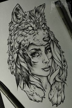 Znalezione obrazy dla zapytania wolf draw girl