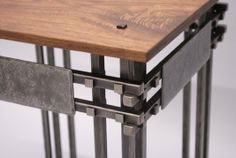 Custom Made Hand-Forged Steel And Walnut Side Table