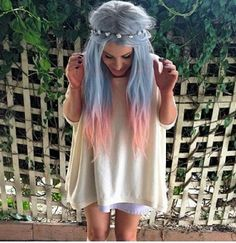 LONG ombre Pastel hair. Really pretty!!