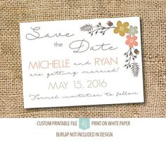Printable save the dates in a simple style. Completely customizable to your fonts, colors, and styles. Click through for matching invites, RSVPs, direction cards and more.  Or shop our 1000+ designs for all of life's journeys. From weddings to anniversari
