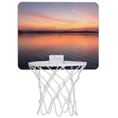 Beautiful lake at summer sunset time mini basketball hoop - summer gifts season diy template ideas