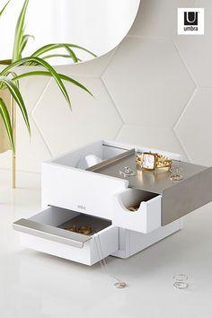 White Basics Pivoting 3-Tiered Tray Jewelry Storage Organizer