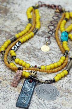 Kianga: African Inspired Tribal Yellow Glass and Mixed Media Pendant Necklace
