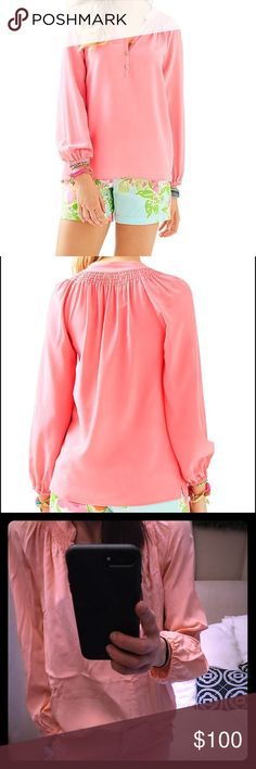 Lilly Pulitzer ELSA TOP - Coral size medium! Lilly Pulitzer ELSA TOP - Coral size medium! Excellent condition worn once. Dry cleaned only! 100% silk. Lilly Pulitzer Tops Tees - Long Sleeve