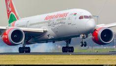 Kenya Airways Boeing 787-8 Dreamliner (registered 5Y-KZE) touching down at Amsterdam-Schiphol