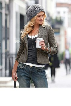 Fall/winter outfit--Nice mix of gray textures - Urban Tweed Jacket. Fashion Moda, Look Fashion, Fashion Women, Fashion 2014, Denim Fashion, Fashion Online, Fashion Trends, Mode Style, Style Me